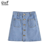 Dotfashion 2016 New Style Casual Wear Women's Solid Blue Button Front Dual Pocket A Line Mini Denim Skirt