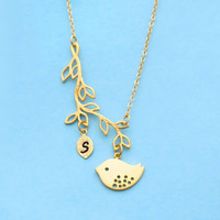 Personalized, Letter, Initial, Bird, Tree, Gold, Silver, Necklace, Custom, Initial, Branch, Animal, Necklace, Birthday, Friendship, Gift