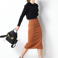 Silk Long Knit Skirt SK0044