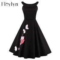 FLOYLYN Plus Size  Embroidery Vintage Dress 50s 60s Style Rockabilly Swing Evening Party Elegant Little Black Dress Sm-4XL