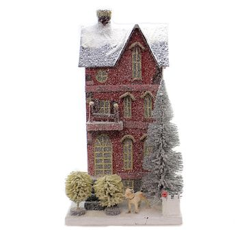 Cody Foster Red Town House Christmas Light Up Vintage Look - HOU256