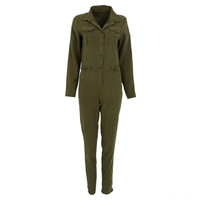 Stylish Women Sexy Jumpsuit Long Sleeve Jumpsuits Cotton Rompers Clubwear Romper
