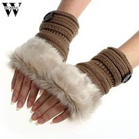Women Machine Knit Warm Winter Finger Less Gloves With Faux Fur Detailing