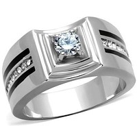 Mens Fashion Rings TK1814 Stainless Steel Ring with AAA Grade CZ