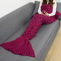 Mermaid Party to Be Adored Blanket Wine red