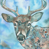 Deer 8.5 x 11 print of hand painted detailed watercolour artwork in whimsical earth tones
