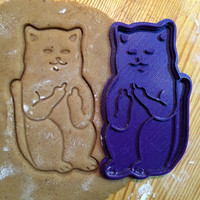 Cat with fucks cookie cutter - sceptical cookiecutter cookies shape cat