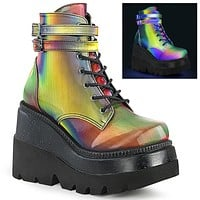 Shaker 52 Rainbow Reflect Platform Wedge Ankle Boots