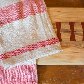 Handwoven in USA Loomination Dish Towel Red