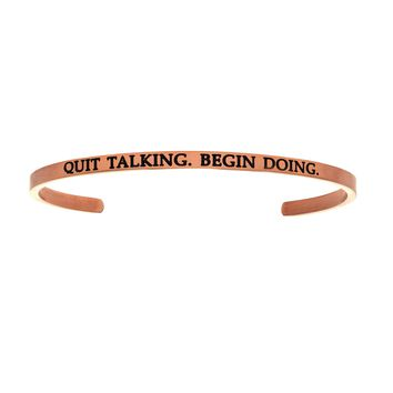 Intuitions Stainless Steel QUIT TALKING.BEGIN DOING. Diamond Accent Cuff Bangle Bracelet