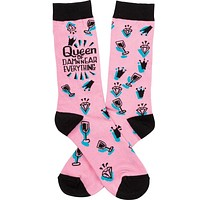 Queen Of Damn Near Everything Pink Black Funny Novelty Power Socks with Cool Design, Bold/Crazy/Unique Specialty Dress Socks