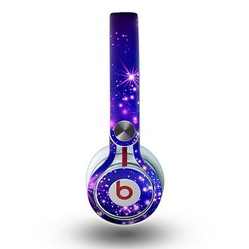 The Glowing Pink & Blue Starry Orbit Skin for the Beats by Dre Mixr Headphones
