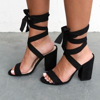 Serious Shade Suede Lace Up Black Heels