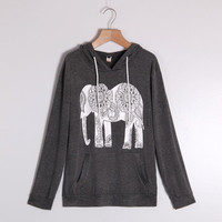 Women Hoodies Long Sleeve Elephant Print Sweatshirt Casual Basic Mujer Black Gray Hoodies S-XXL SM6