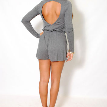 (aly) Long sleeves side pockets jersey gray romper