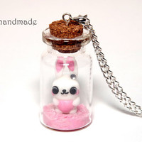 Cute bunny on ice-cream glass jar necklace