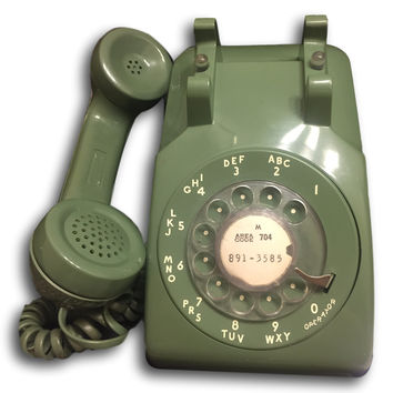 Vintage Mid Century Modern Green Rotary Dial Phone