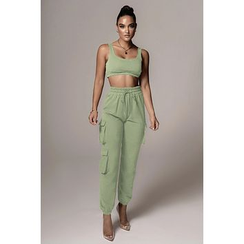 fhotwinter19 Women's fashion casual short vest two-piece trousers with pockets