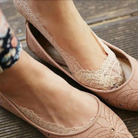 Women's Fashion  Invisible Skidproof  Lace Ankle Heal Short  Cotton Sock = 1930192900