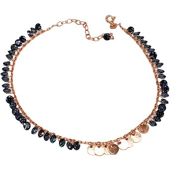 Mystic Topaz Minimal Dangle Coins and Drop Body Chain Anklet Handcrafted 925 Sterling Silver Rose Gold,White Gold,14K Gold Option/s Available