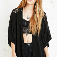 Pins & Needles Lace Insert Kimono Jacket in Black - Urban Outfitters