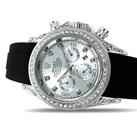 Rolex Men's and Women's Diamond Watches Silver