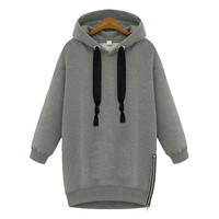Long-Sleeve Hoodie Trench Winter Coat