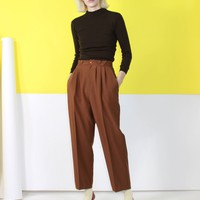 Brown Tapered Leg Slacks Large
