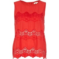 Red lace insert shell top - sleeveless tops - tops - women