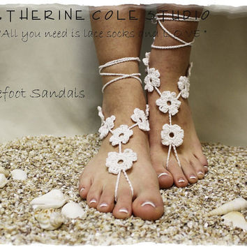 Barefoot sandals handmade 100% cotton great for beach wedding summer slave sandals foot jewelry resort wear Catherine Cole BF-1