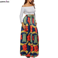 2017 African style stetch Bohemian elastic women Maxi skirt Summer High Waist Pleated Floral print floor length long skirts