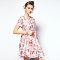 Floral Printed Slim Thin Mini Dress