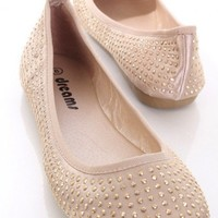 Champagne Satin Faux Leather Studded Closed Toe Flats @ Amiclubwear Flats Shoes online store:Women's Casual Flats,Sexy Flats,Black Flats,White Flats,Women's Casual Shoes,Summer Shoes,Discount Flats,Cheap Flats,Spring Shoes,Cute Flats Shoes,Women's Flats S