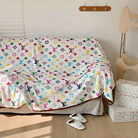 LV Louis Vuitton Hot Sale Full Printed Retro Blanket D Home Coral Fleece Thickening Blanket Adult Single Bed Blanket