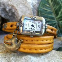 Vintage style leather wrap watch with Charm, Brown Yellow Bracelet watch ,handmade antique wrist watch, women leather wrap watch, Retro