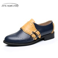 Genuine leather big woman US size 11 designer vintage flat shoes round toe handmade blue yellow 2017 oxford shoes for women fur