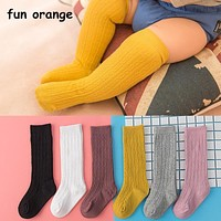 Fun Orange Cute Baby Knee Socks born Infant Baby Cotton Knee High Socks Children Baby Girls Boys Socks For Age 0-4 Years