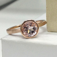 Morganite Engagement Ring 14K Rose Gold!7mm Round Cut Pink Morganite Solitaire Wedding Bridal Ring,Unique Design,Bezel Set,Fashion Fine ring