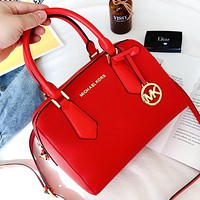 Hipgirls MK New fashion solid color leather shopping leisure shoulder bag crossbody bag handbag Red
