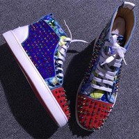 Christian Louboutin CL Louis Spikes Style #1886 Sneakers Fashion Shoes Online