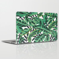Tropical Glam Banana Leaf Print Laptop & iPad Skin by Nikki