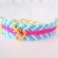 Anchor Nautical Friendship Bracelet in Neon by TheTreeOfHappiness