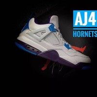 "Air Jordan 4 Retro AJ4 ""Hornets"" Leather Basketball Shoes"