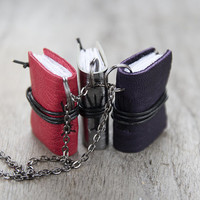 Tiny book pendant, journal necklace, leather eco friendly necklace literature, mini book jewelry, spring jewelry, miniature book necklace