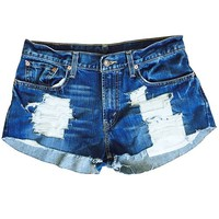 Women's Gap's Destroy Me Ripped Distressed Denim Low Rise Fray Shorts