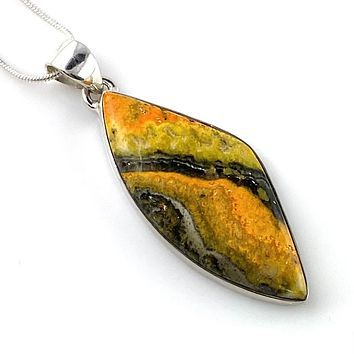 Bumble Bee Jasper Sterling Silver Pendant