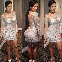 Sexy Shiny sliver evening gowns cocktail dresses Mini Short Homecoming Party Crystal Long Sleeves A Line Beading Cocktail Dress