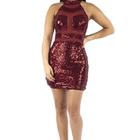 Red Sleeveless Dress with Sequins and Mesh Detailing