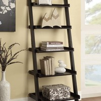 Espresso finish wood 5 tier leaning bookshelf with back and side guards