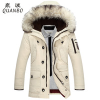 Men's Business Thick Down Jacket Fur Collar Hooded Parka Coat